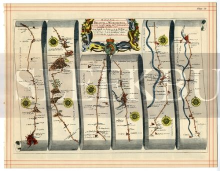 OGILBY Strip Map BRISTOL TO WORCESTER BRISTOL TO WEYMOUTH